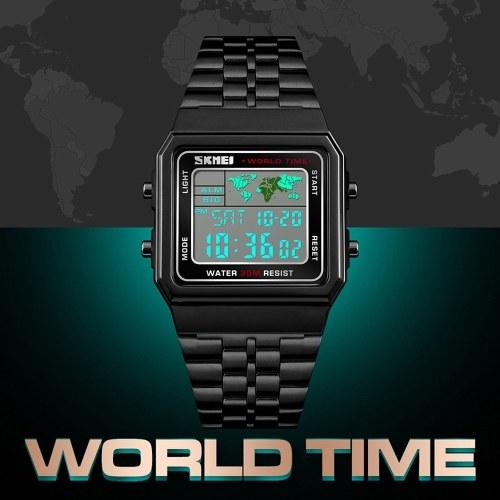 Image de Montre LED sport numérique pour hommes compte à rebours temps du monde en acier inoxydable étanche montres-bracelet carrées multifonctions de mode montres-bracelets horloge masculine SKMEI (Noir)