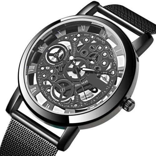 Montre-bracelet à mailles en métal à la mode pour hommes Montre vintage à quartz creuse Montre à cadran rond