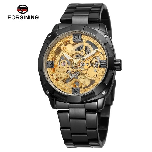 FORSINING Men Luxury Skeleton Automatic Winding Mechanical Watches Exquisite Stainless Steel Wristwatch