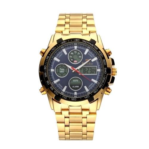Мужские многофункциональные цифровые наручные часы с двойным дисплеем и ремешком из сплава