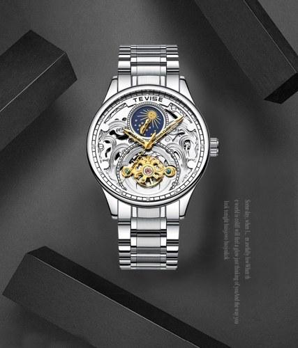TEVISE T820A Geschäftsleute Automatische Mechanische Uhr Mondphase Zeitanzeige Mode Lässig Edelstahlband 3ATM Wasserdichte Männliche Armbanduhr
