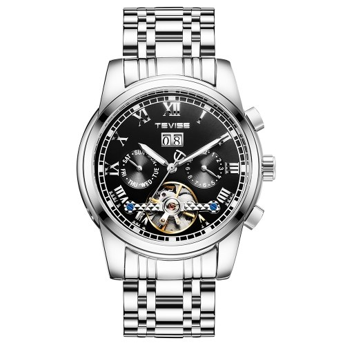 TEVISE 9005 Haute Qualité Squelette Automatique Hommes Montre Mécanique Montre Phase De Lune En Acier Inoxydable Horloge Hommes D'affaires Hommes Montres Relogio Masculino