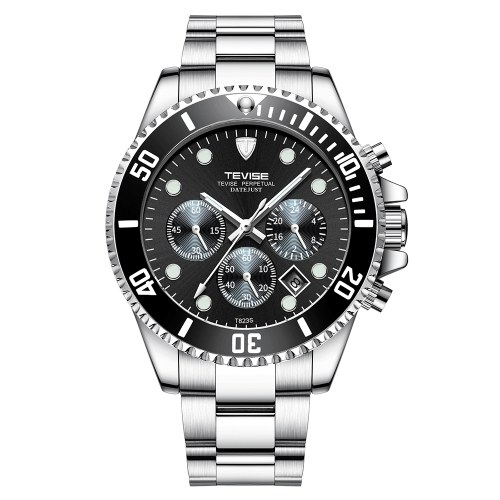 TEVISE T823 Brand Men Watch Luxury Quartz Watch Sport Stainless Steel Clock Relogio Masculino for Gift