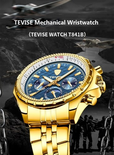 TEVISE T841B Brand Fashion Men Watch Luxury Mechanical Self-wind Automatic Wristwatch Sport Leather/Stainless Steel Optional Clock Relogio Masculino for Gift