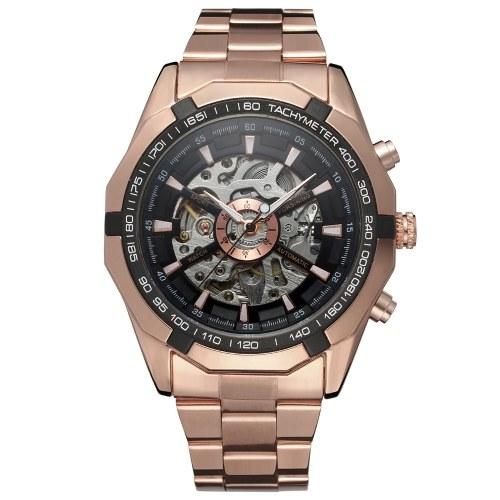 Forsining 340 Top Brand Automático Mecánico Hombres de Negocios Reloj Esqueleto Reloj de Lujo Moda de Lujo Reloj de Acero Inoxidable Militar con Caja de Regalo