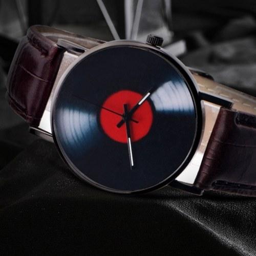 Unisex Casual Retro Leather Band Quartz Watch Fashion Classic Phonograph Record Wrist Watch