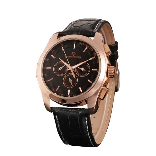FORSINING Mode Kalender Datum Woche Lederband Uhr Männer Automatische Mechanische Armbanduhr