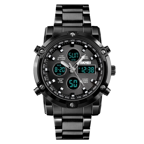 Fashion Watch Trend Multi-functional Three Time Large Dial Business Men's Electronic Steel Band Watches Black+Black