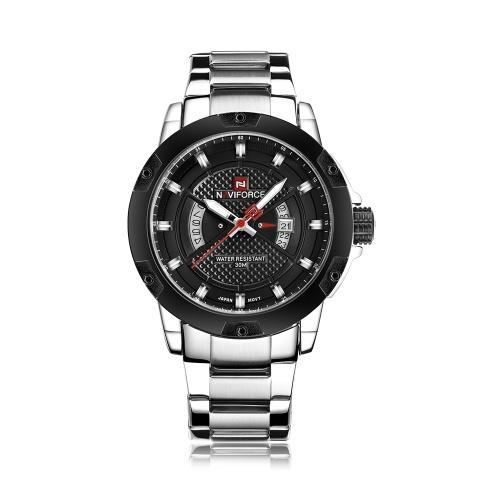 NAVIFORCE 9085 Quarz-Mann-Uhr Einzigartige Mode Sport Lässig Marke Clock Army Military Geschäft Originalbewegung Edelstahl 50 Mt Wasserdichte Armbanduhr Relogio Masculino mit Geschenkbox