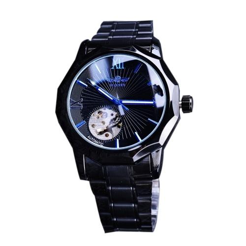 Orologio meccanico analogico automatico di lusso di modo degli uomini del quadrante trasparente di scheletro degli uomini del vincitore