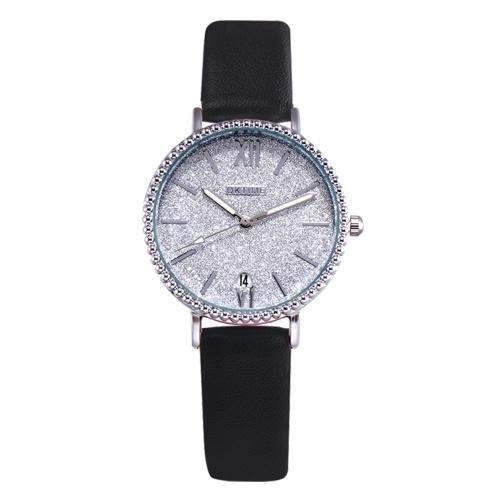 Moda feminina brilhante noite estrelada mostrador branco relógio de quartzo