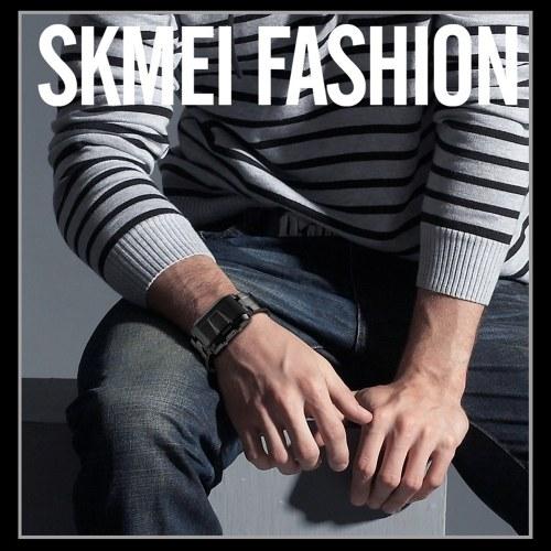 SKMEI 1179 Digital LED Rectangular Men Watch 5ATM Waterproof Casual Sports Wristwatch Week Calendar Male Watch for Students Teens Teenger