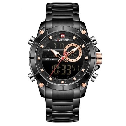 NAVIFORCE Edelstahlband Quarz Elektronische Armbanduhr