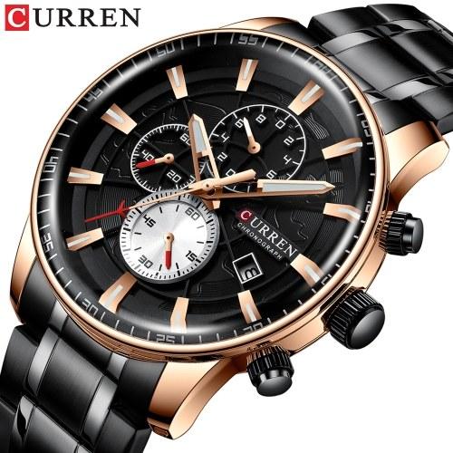 カレンメンズビジネスウォッチファッション合金ケースステンレススチールバンドウォッチ絶妙な3気圧防水カレンダークォーツ腕時計