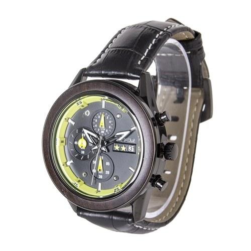 Reloj REDEAR para hombre, movimiento de cuarzo, aleación y caja de madera, pantalla de tiempo y calendario, puntero luminoso, cronómetro