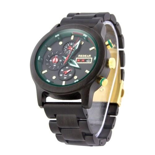 REDEAR Orologio da uomo con cassa in legno e cinturino al quarzo con movimento al tempo e calendario con display luminoso con cronometro