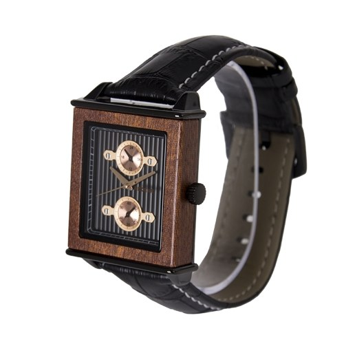 REDEAR Men Watch Quartz Movement Wood Case & Leather Strap Time & Calendar Display Luminous Pointer Stopwatch