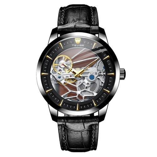 Reloj mecánico automático TEVISE para hombre, cronógrafo analógico, reloj de pulsera de negocios, reloj de vestir impermeable de 30 M, esfera esquelética