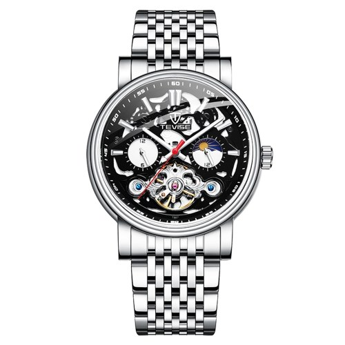 TEVISE Men Automatic Mechanical Watch Stainless Steel Strap Time & Moon Phase Display Luminous Design 3ATM Waterproof Male Fashion Watches for Business & Daily Life (Box Packaged)