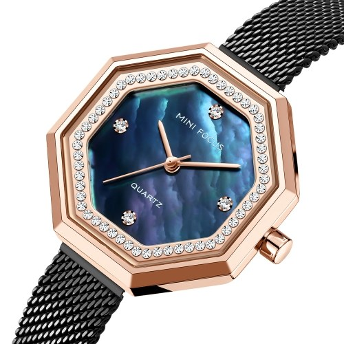 MINI FOCUS Women Quartz Watch Octagon Case Women's Fashion Watches with Crystal Diamonds Steel Mesh Strap 3ATM Waterproof Female Wristbands for Business & Daily Life (Box Packaged)