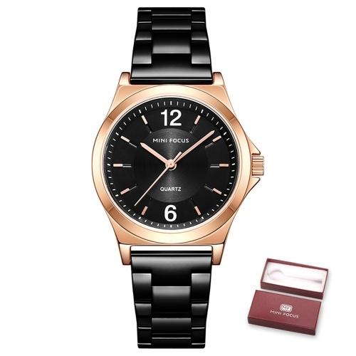 MINI FOCUS Montre à quartz pour femme Montres de mode pour femme avec bracelet en acier solide 3ATM Bracelets féminins étanches pour les affaires et la vie quotidienne (boîte emballée)
