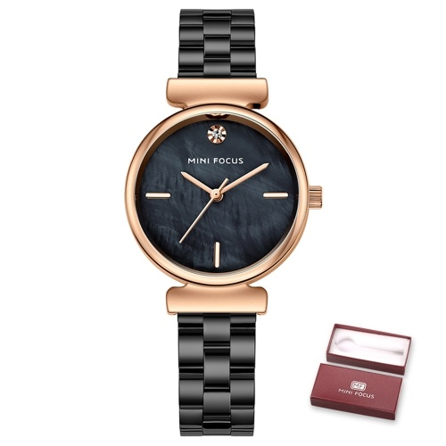 MINI FOCUS Women Quartz Watch Women's Fashion Watches with Solid Steel Strap 3ATM Waterproof Female Wristbands for Business & Daily Life (Box Packaged)