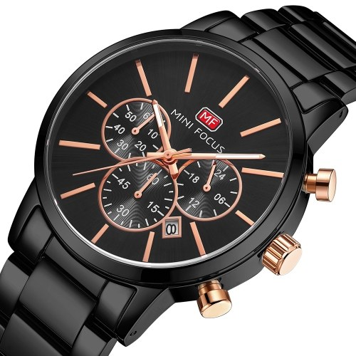 MINI FOCUS Classic Men Quartz Watch Analog Chronograph Business Wrist Watch with Calendar 3ATM Waterproof Luminous Pointer Dress Watch