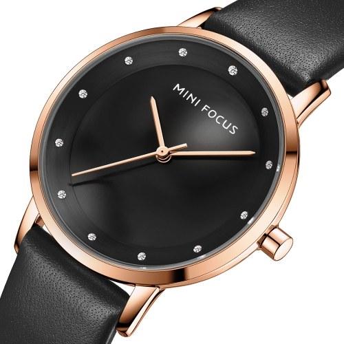 MINI FOCUS femmes montre à Quartz classique montre de mode avec bracelet en cuir 3ATM étanche femme boîte de montre paquet