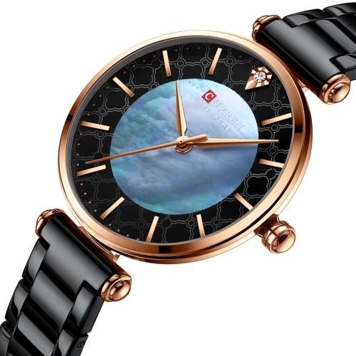 CURREN Women's Quartz Watch with Stainless Steel Strap Fashion Wristwatch 3ATM Watches