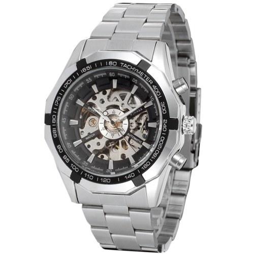 Мужские автоматические механические часы на стальном ремешке Модные наручные часы с выдолбленным дизайном