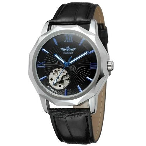 Montre mécanique automatique T-Winner pour homme avec bracelet en cuir Montre-bracelet de mode à affichage lumineux