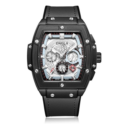 Montre à quartz pour homme avec bracelet en cuir et affichage lumineux 3ATM Montre-bracelet à design creux