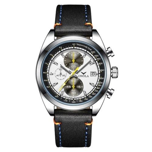 Orologio al quarzo da uomo con cinturino in pelle Orologio da polso multifunzionale Fashion 3ATM