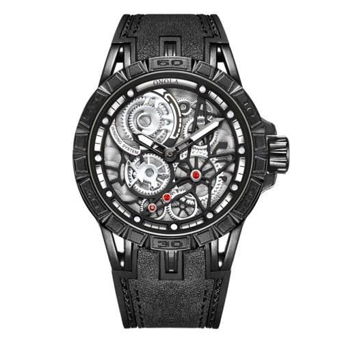 Мужские кварцевые часы с кожаным ремешком 3ATM Полые дизайнерские наручные часы для мужчин и мальчиков