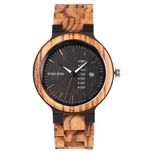 BOBO BIRD Orologio al quarzo da uomo in legno con datario settimanale, orologio da polso casual con confezione regalo
