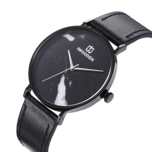 Кварцевые часы IWOODEN Унисекс Аналоговые часы с кожаным ремешком Мраморный циферблат 3ATM Водонепроницаемые деловые повседневные наручные часы для мужчин и женщин