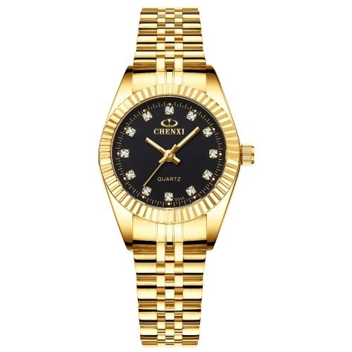 CHENXI femmes montre à Quartz classique dames mode montre-bracelet avec bande en acier solide pointeur lumineux 3ATM étanche pour les affaires quotidiennes