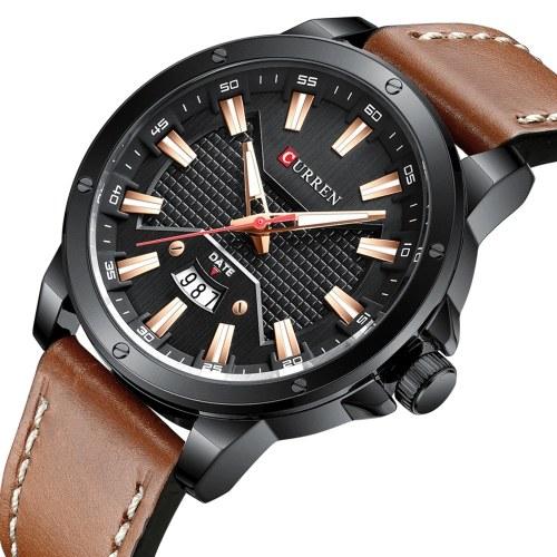CURREN hommes montre mouvement à Quartz bracelet en cuir heure et affichage du calendrier conception lumineuse 3ATM étanche mâle mode bracelet pour les affaires et la vie quotidienne