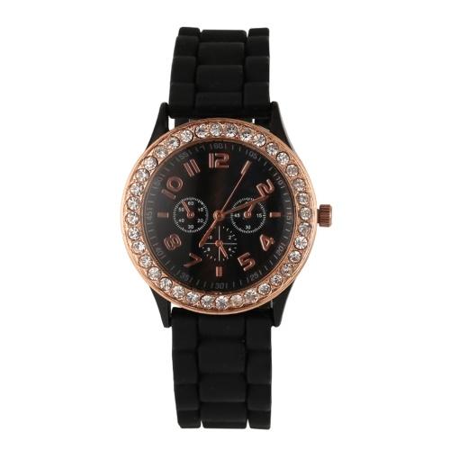 Klassische Damen Quarzuhr Damenmode Armbanduhr mit Silikonarmband Leichte Freizeituhren Tägliche wasserdichte Analoguhr