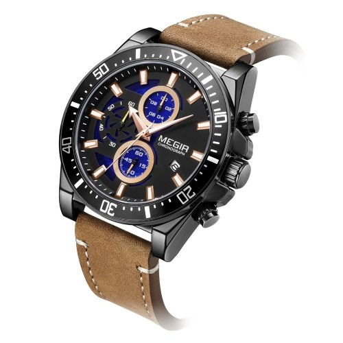 Men Quartz Watch MEGIR Analog Chronograph Wrist Watch with Calendar 3ATM Waterproof Luminous Dial Fashion Casual Watch with Leather Strap