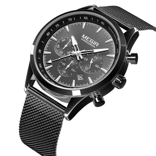 Classic Men Quartz Watch MEGIR Analog Chronograph Business Wrist Watch with Calendar 3ATM Waterproof Luminous Pointer Dress Watch with Steel Watchband