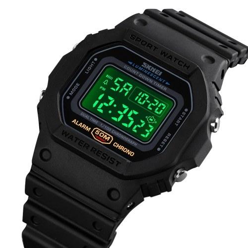 Men's Digital Sport Watch SKMEI Classic Waterproof Sport Watch with Alarm Stopwatch Countdown LED Backlight Electronic Wrist Watch