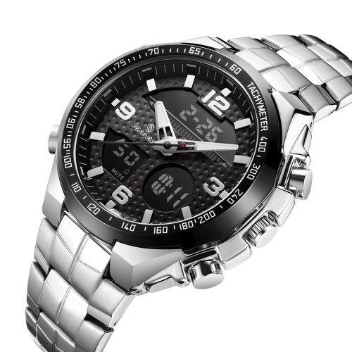 Herren Analoge Digitaluhr SENORS Herren Businessuhr 3ATM Wasserdichte Armbanduhren mit Edelstahlband Multifunktions-Sportuhr Chronograph / Alarm / Kalender