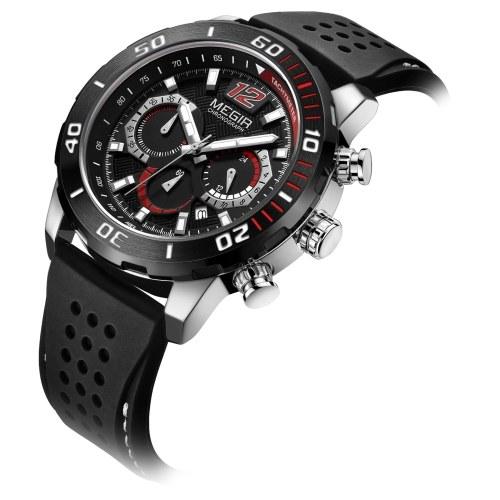MEGIR Мужские кварцевые часы Изысканные мужские наручные часы Отображение времени и календаря Секундомер Световая указка 3ATM Водонепроницаемые спортивные часы Мужские модные браслеты Спортивные часы