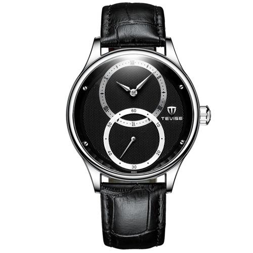TEVISE Herren Automatik Mechanische Uhr Lederarmband mit Second Hand Separation 3ATM Wasserdichte Herrenmode Uhr Prägnante Business Armband Männliche Uhren