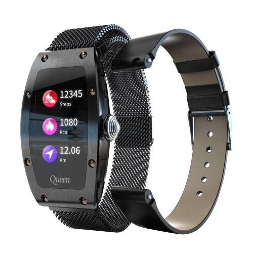 LOKMAT QUEEN 1,14-дюймовые умные часы для женщин с кожаным и миланским двойным ремешком