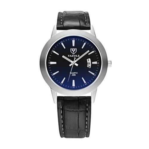 YAZOLE hommes montre à quartz montre-bracelet pour homme avec blocage de la lumière bleue en verre minéral affichage du calendrier du temps pointeur lumineux 3ATM étanche montres d'affaires bracelet en cuir bracelet de mode masculine