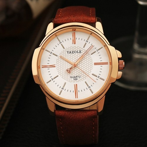 YAZOLE Men Quartz Watch Exquisite Male Wristwatch Accurate Time Display 3ATM Waterproof Business Watches Leather Strap Male Fashion Wristband Men's Gifts