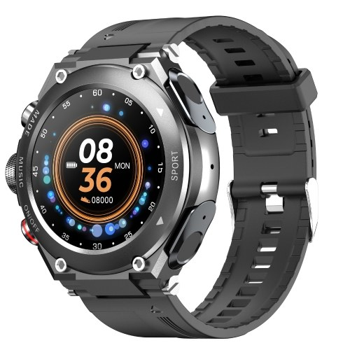 LEMFO T92 1.28-Inch IPS Full-Touch Screen 2 in 1 Smart Watch with BT Earbuds