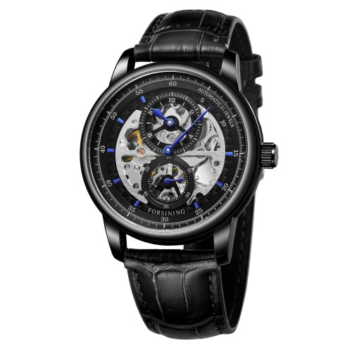 Hollow Men's Automatic Mechanical Watch with Leather Strap Fashion 3ATM Wristwatch